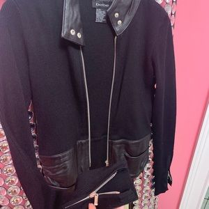 bebe Black Leather accent long sleeve shirt